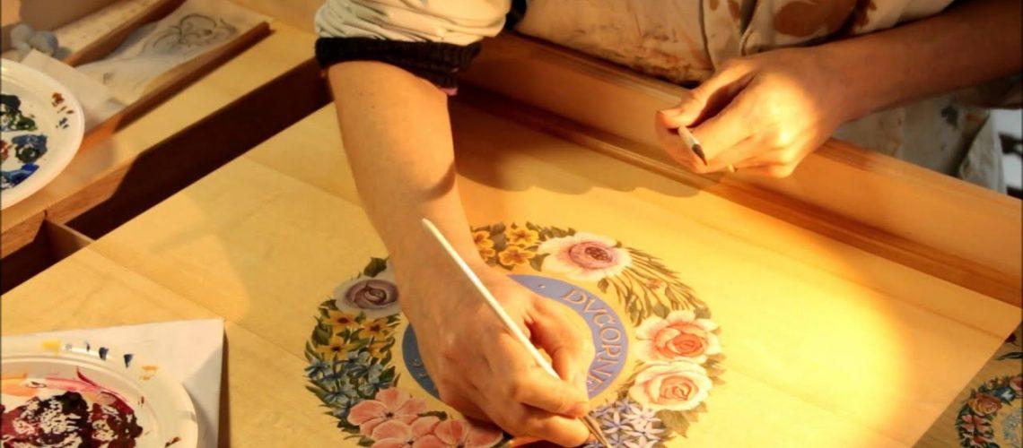 Decorative Painting Harpsichord Soundboard