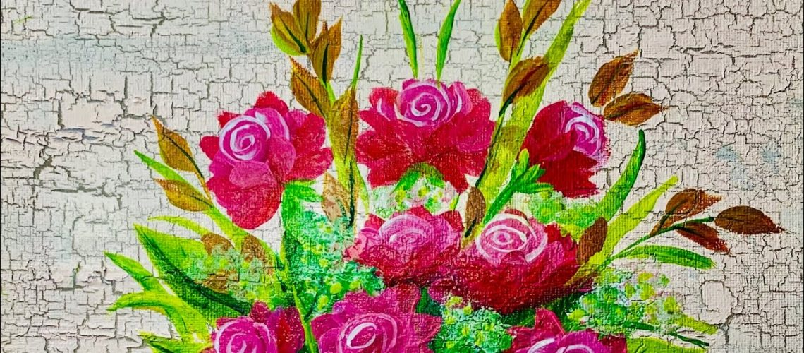 Decorative painting tutorial   Acrylic painting   Painting on crackled