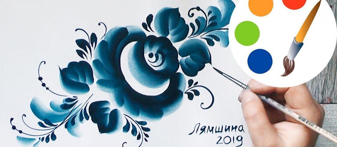 Gzhel by filbert brush, Blue decorative painting, acrylic painting