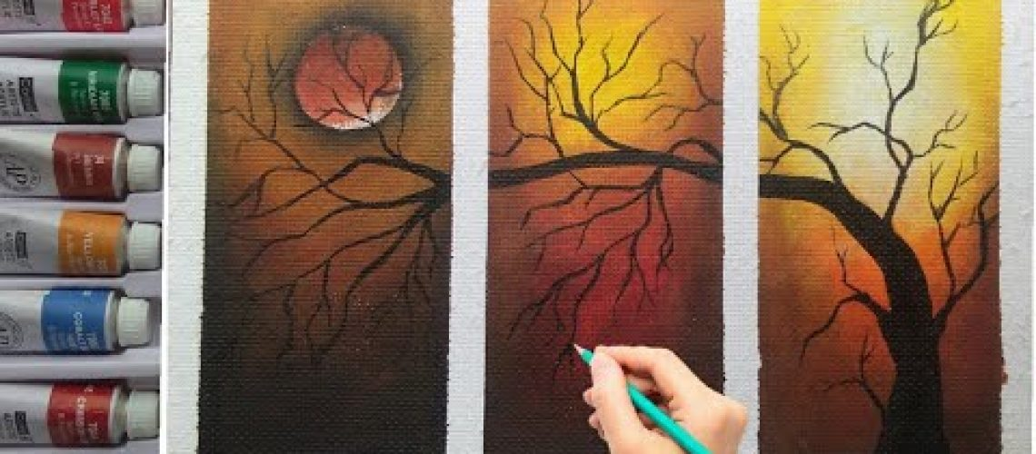How to draw easy and simple wall decorative painting by