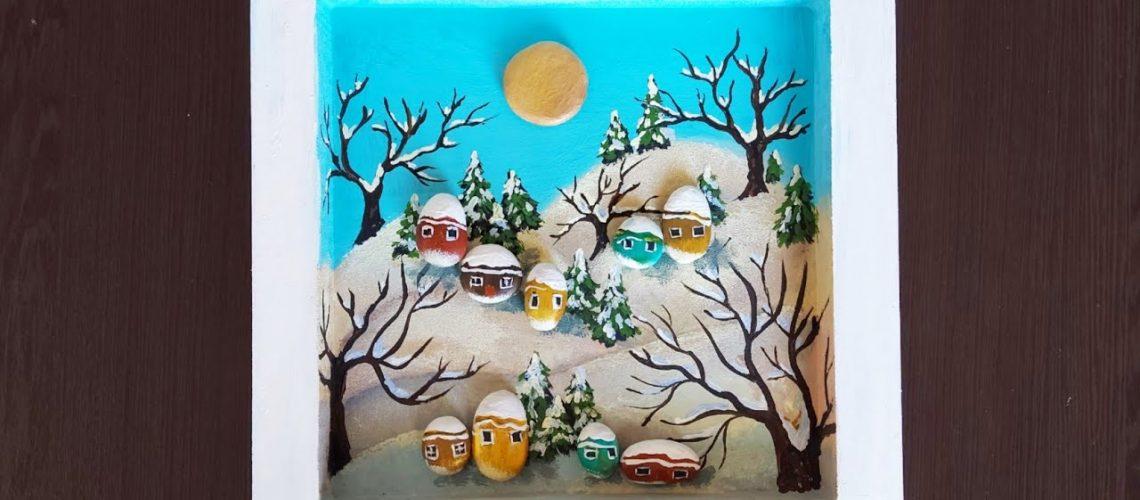 Kış Manzarası Yapımı akrilik boya ve taşlardan
