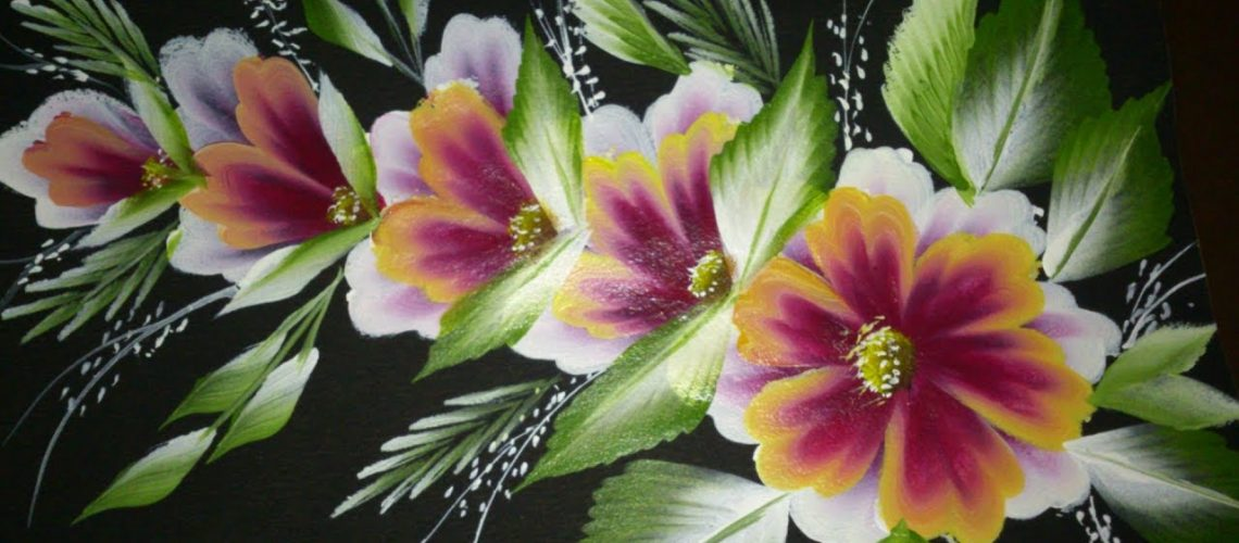 One stroke painting for beginners. One stroke decorative art painting