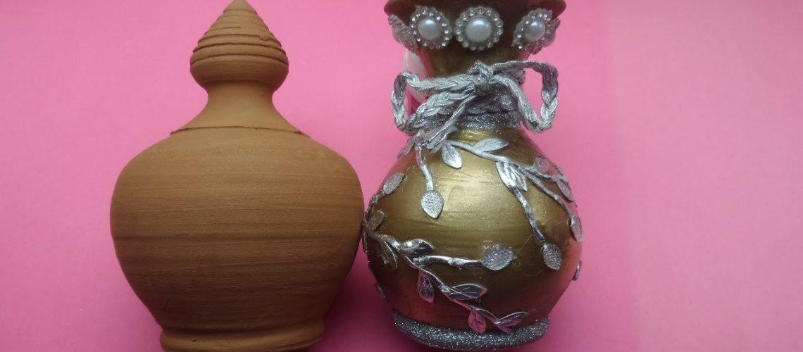Toprak Vazo ile Dekoratif Bir Biblo Vazo Yaptık